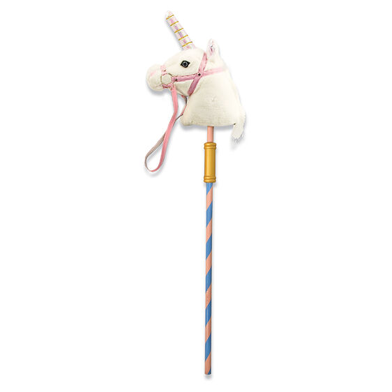 Galloping toy with Striped pole topped with plush Unicorn head