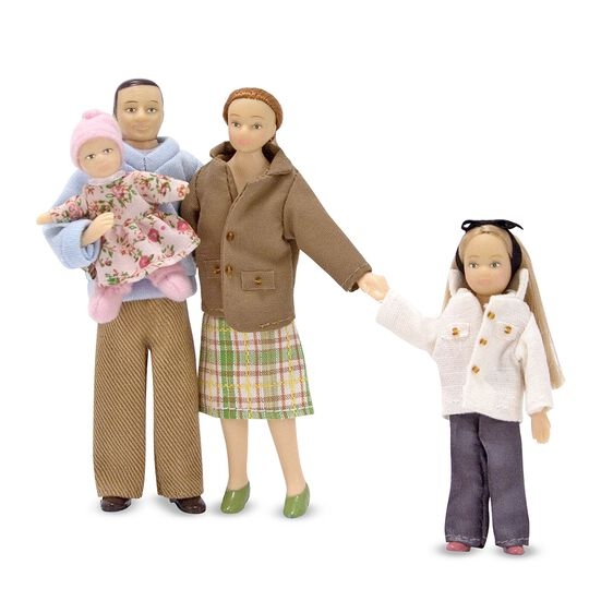Caucasian doll family with two daughters