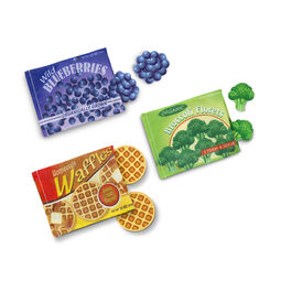 Frozen food set with blueberries, waffles, and broccoli boxes