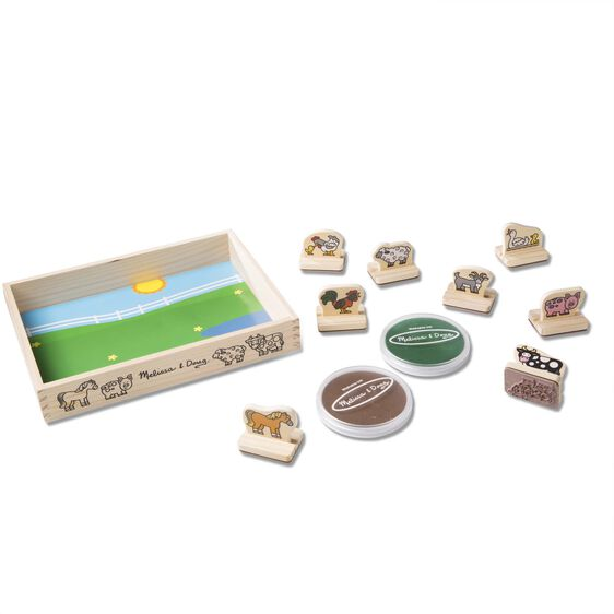 Farm themed wooden case and stamps with stamp pad