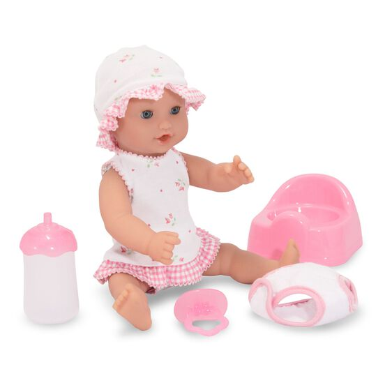 Baby doll with bottle, pacifier, diaper, and toilet