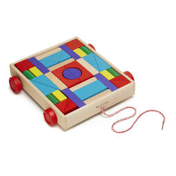 Rolling wooden cart with colored wooden unit blocks