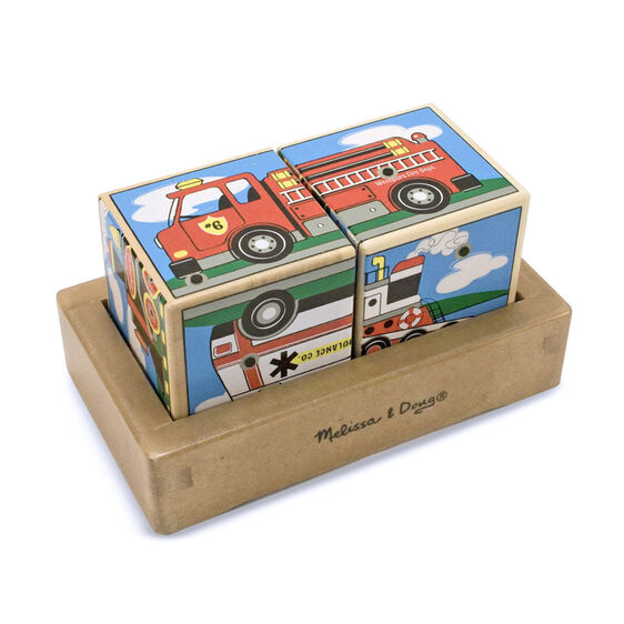 Vehicle Sound blocks displaying fire truck in wooden frame