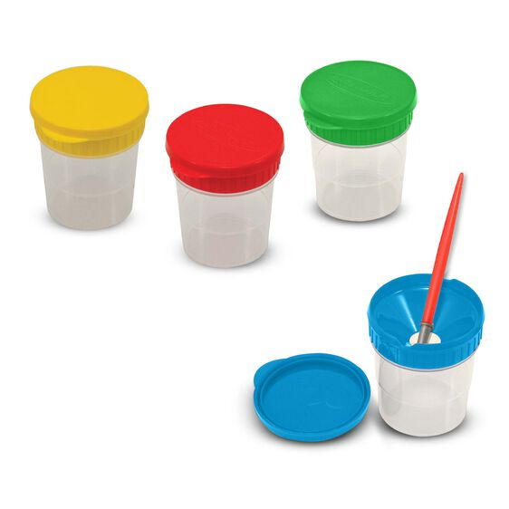 Yellow, red, green, and blue spill-proof paint cups with red paint brush