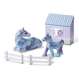 Adult and child horses and stable decoupage set
