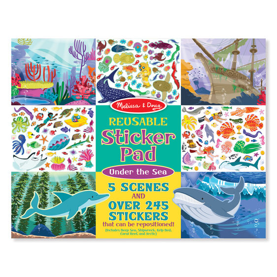 Reusable sticker pad cover with pictures of aquatic scenes and stickers