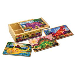 Four dinosaur jigsaw puzzles in wooden box