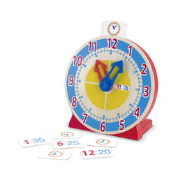 Wooden pretend clock with movable clock hands and time cards