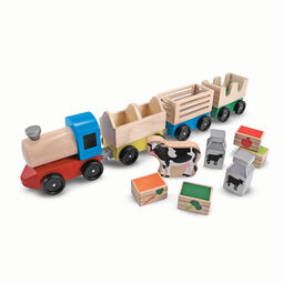 Wooden train toy with farm animal toys