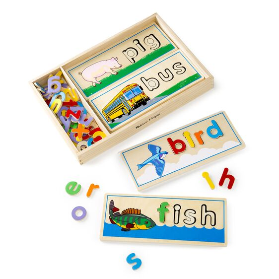 wooden case with letters and word cards