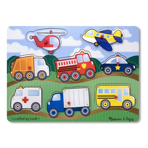 eight piece peg puzzle with helicopter, airplane, dump truck, fire truck, police car, ambulance, shipping truck, and school bus pieces