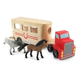 Wooden horse carrier truck with horse figures