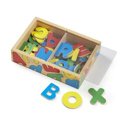 Wooden alphabet magnets in wooden box