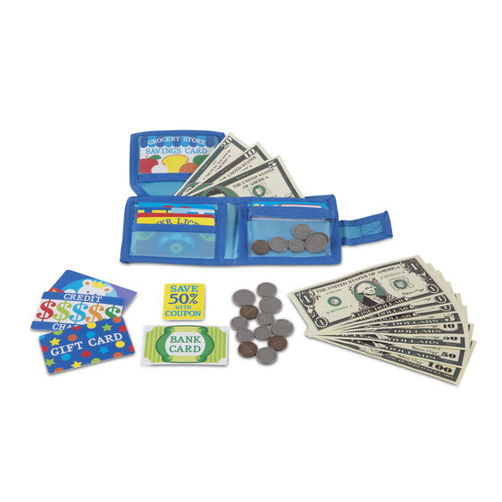 Open blue wallet with pretend bills, coins, and various cards