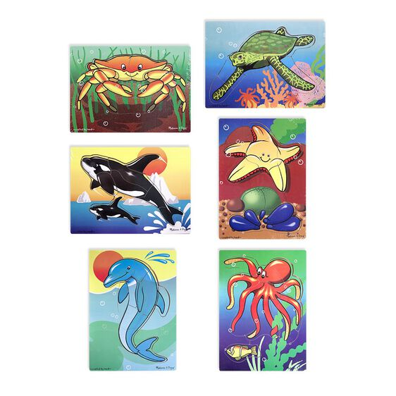Set of six puzzles with Crab, Sea Turtle, Orca Whale, Starfish, Dolphin, and Octopus puzzles