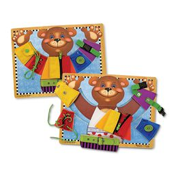 Basic skills puzzle board with picture of bear