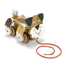Wooden puppy with wheels and pull rope