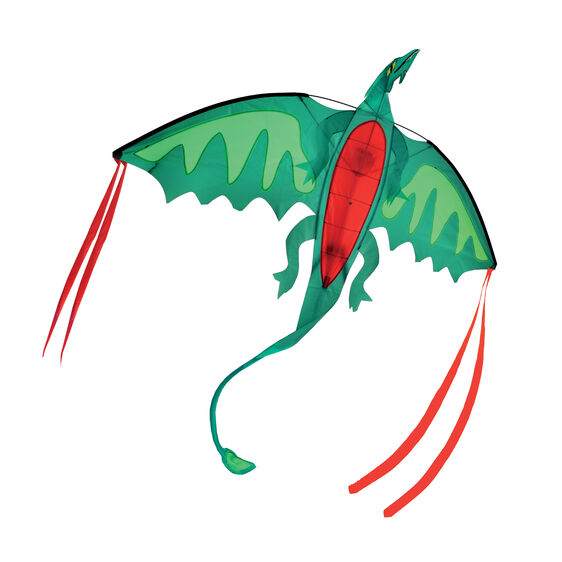 Dragon shaped kite with red ribbons off wings