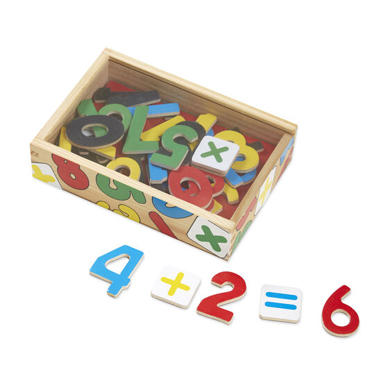 Magnetic wooden numbers in wooden box
