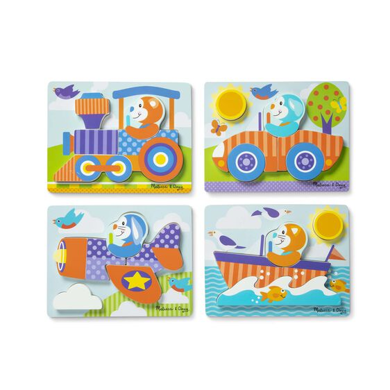 Four vehicles jigsaw puzzles with train, car, airplane, and boat