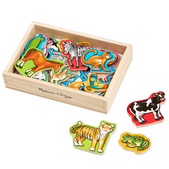 Wooden animal magnets in wooden box