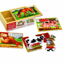 Horse, Pig, Chicken, and Cow jigsaw puzzles with wooden box