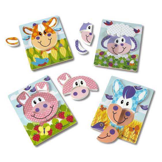 Four farm animal jigsaw puzzles with pieces removed