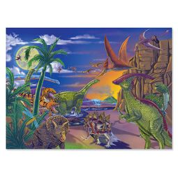 Completed puzzle with scene of various dinosaurs