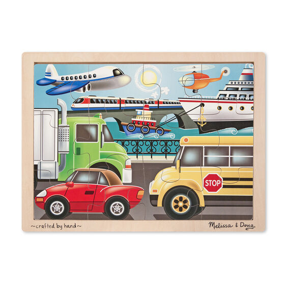 Wooden puzzle with various vehicles and wooden case