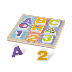 Nine piece chunky puzzle with ABC, 123, circle, square, and triangle shapes