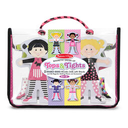 Tops and tights magnetic dress up with two magnetic wooden dolls in packaging