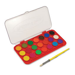 21 color paint tray with paint brush