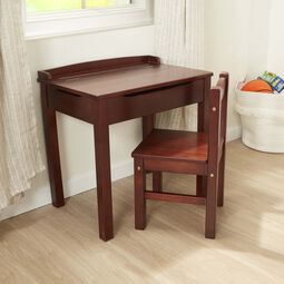 Brown lift-top desk and chair