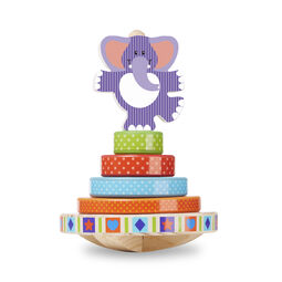Elephant on top of four layer stacker with rounded, rocking base
