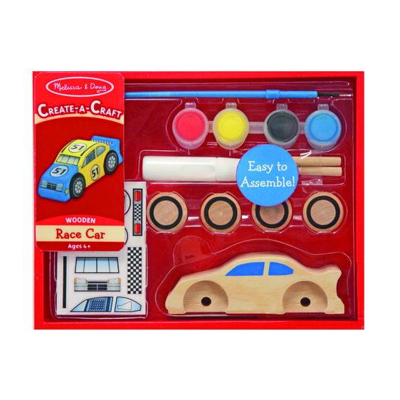 Wooden race car with paint and stickers for decoration in packaging
