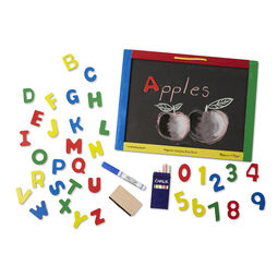 Chalk board with wooden frame, magnetic letters and numbers, and accessories