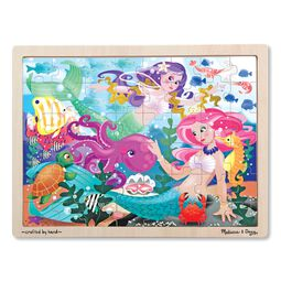 Mermaid fantasea themed wooden puzzle in wooden tray