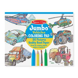 Jumbo coloring pad cover with vehicles