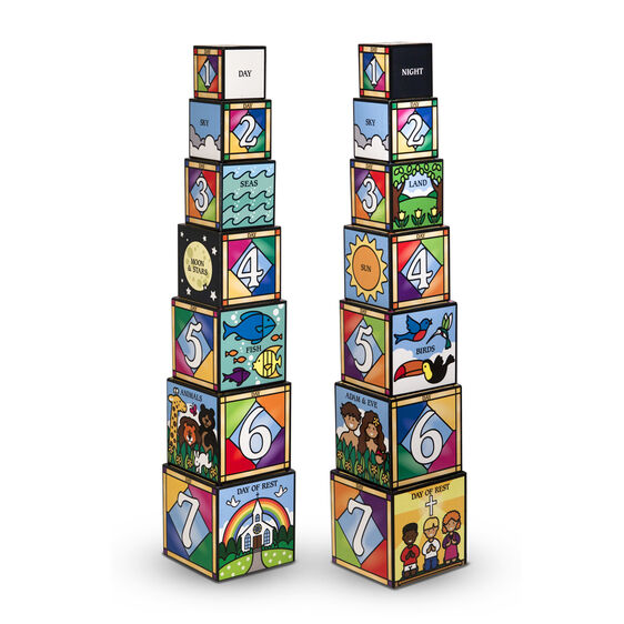 Two towers of stacking and nesting number blocks