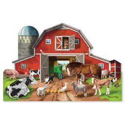 Red bard shaped floor puzzle with farm animals