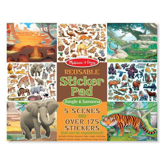 Jungle and savanna sticker pad cover with scenes and stickers