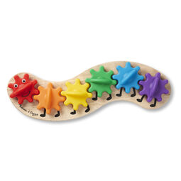Wooden caterpillar shaped board with multi-colored plastic gears