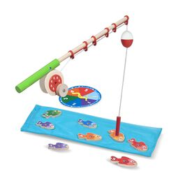 Wooden fishing rod with water mat and wooden fish