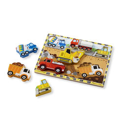 Six piece construction chunky puzzle with construction vehicle pieces