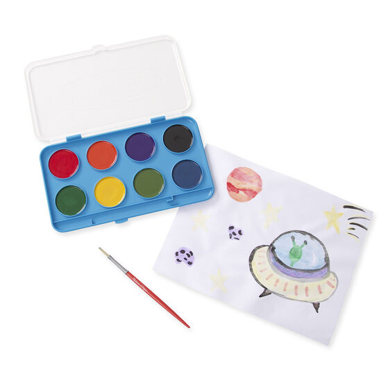 Eight color paint tray with paint brush next to painting on paper
