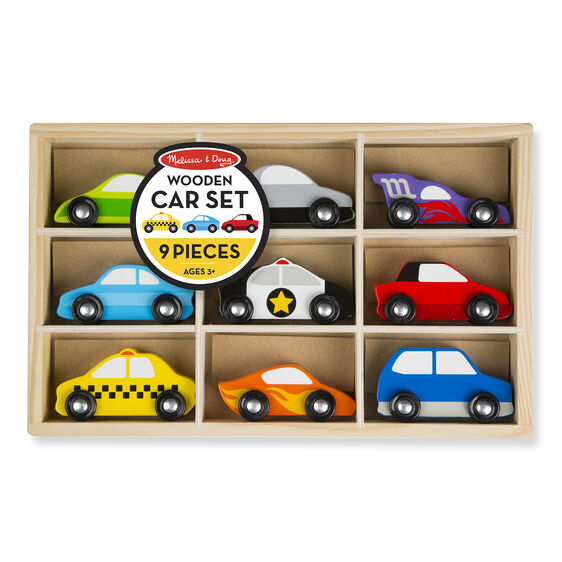Wooden cars and wooden case in packaging