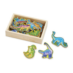Wooden dinosaur magnets in wooden box