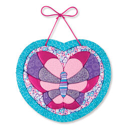 Hanging heart shaped butterfly quilt