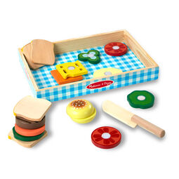 Wooden sandwich making set in wooden box