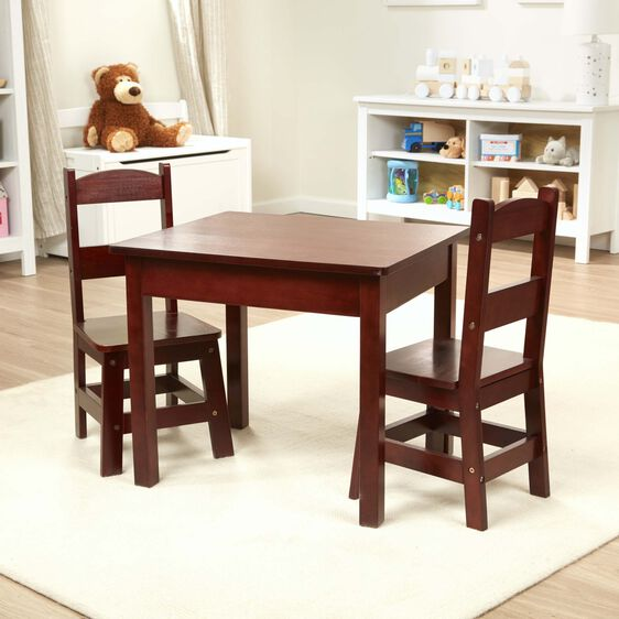 Two dark brown chairs and table in play room